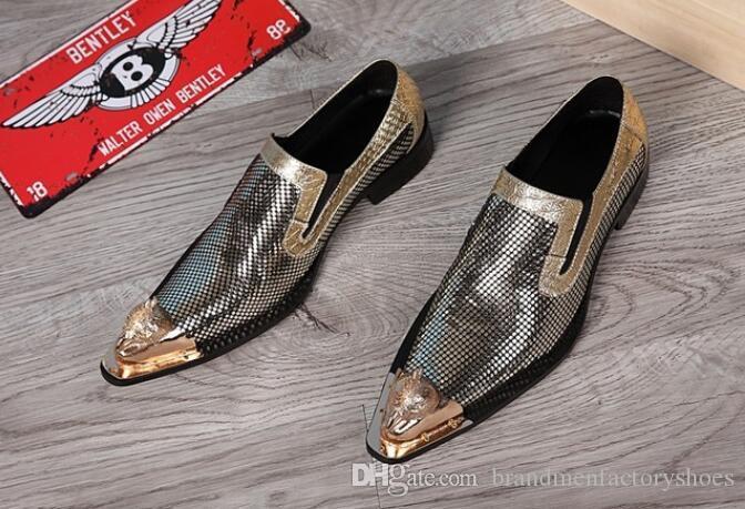 7f34af10 Compre 2018 Zapatos De Los Hombres De La Marca De Lujo Mocasines Zapatos De  Baile De Charol De Oro Zapatos Italianos Para Hombres Zapatos De Cocodrilo  A ...