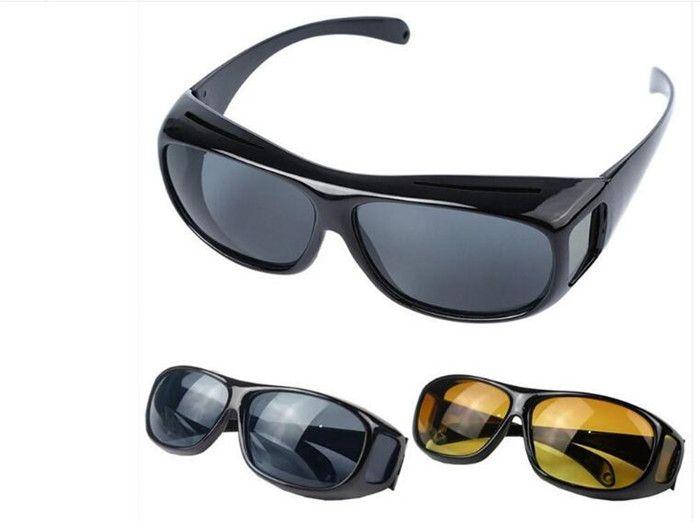 HD ночного видения вождения солнцезащитные очки мужчины желтый объектив над обернуть вокруг очки темное вождение UV400 защитные очки с антибликовым покрытием J030