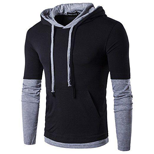 Erkekler Casual Slim Fit Uzun Kollu Tişört Kapşonlu / Hoodies ile Erkek İnce Erkek Katı Renk Birleştirme Tops