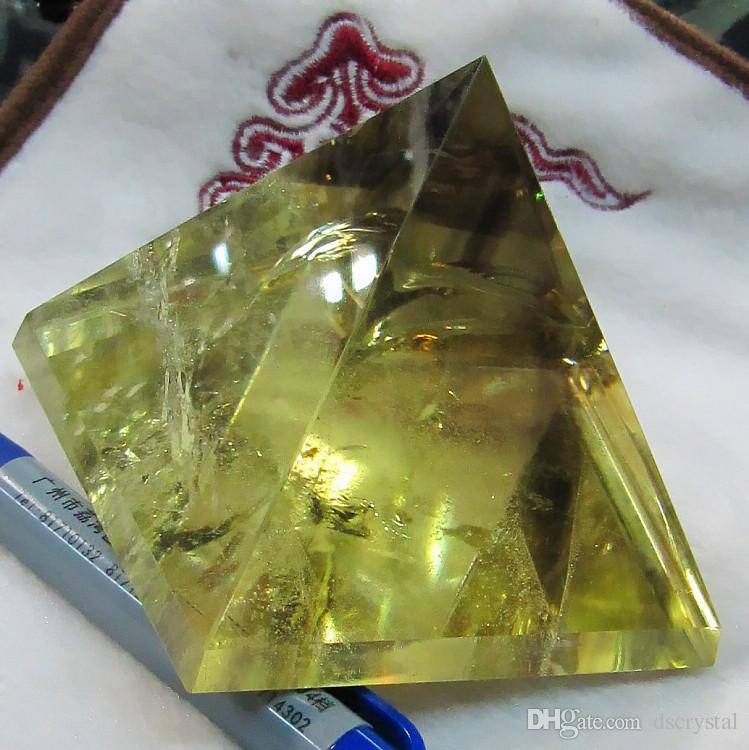 Großhandelsqualitätsnatürliche Citrinkristallpyramide nunatak Reiki, das gelbe Kristallquarzpyramidendekoration 30mm-35mm freihändig heilt