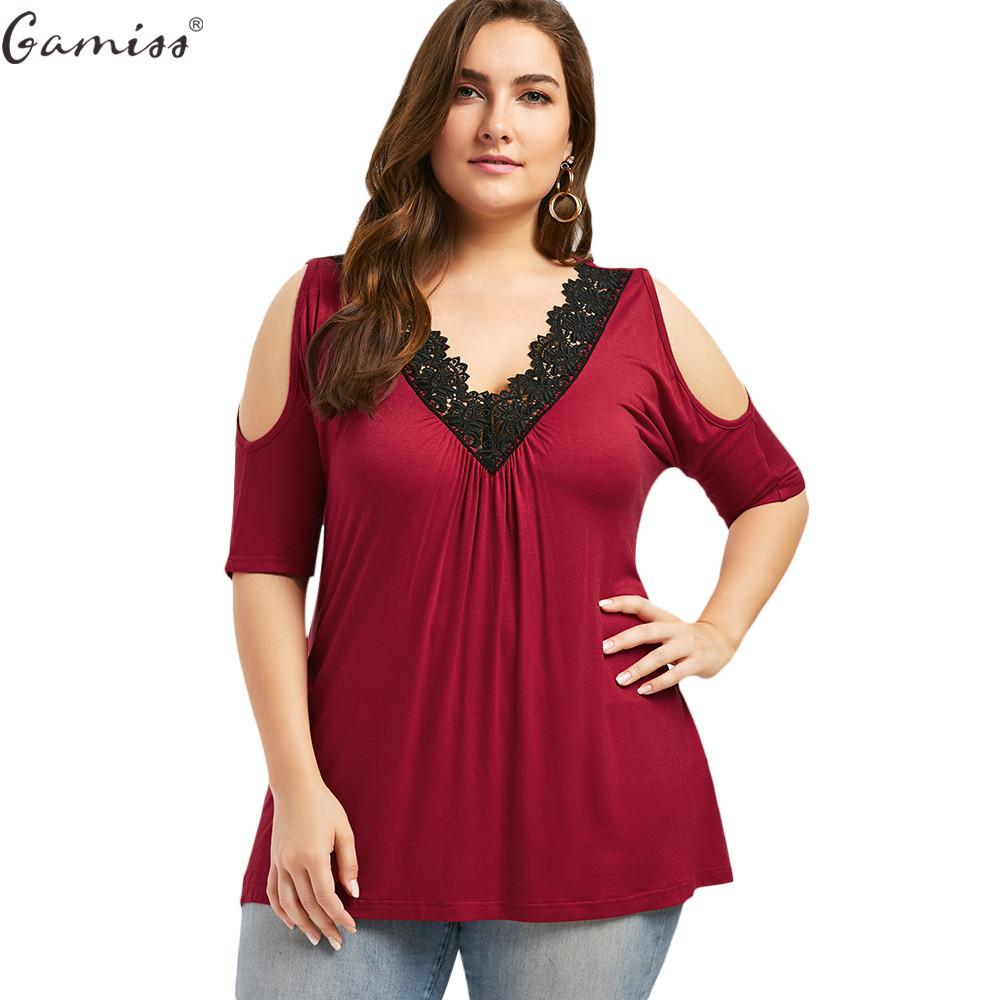 e852579d1a4 Gamiss 2017 Summer Casual Women Plus Size 5xl T Shirt Lace Trim V Neck Cold  Shoulder Tops Tee Flowy Half Sleeve Top Y1891307 Novelty T Shirt Funny  Printed T ...