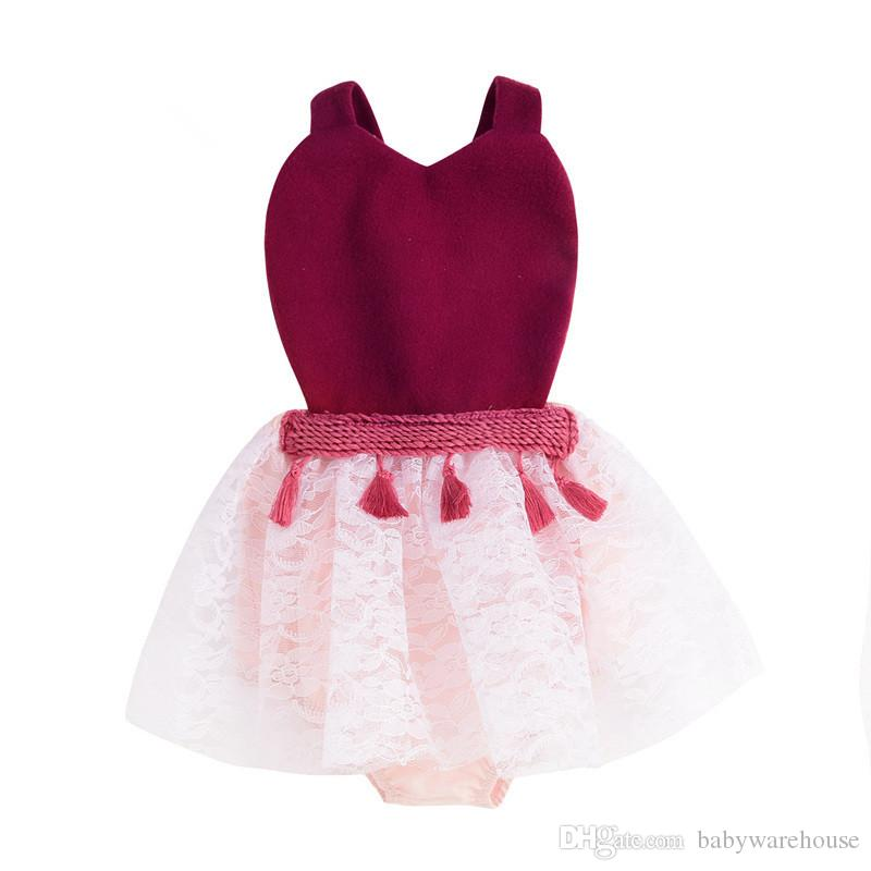 5c1d1a7cd733 2019 Newborn Clothes 2018 Baby Princess Dress Lace Tutu Party Girls Dresses  Tassel Suspender Knitted Romper Baby Clothing Kids Clothes Boutique From ...