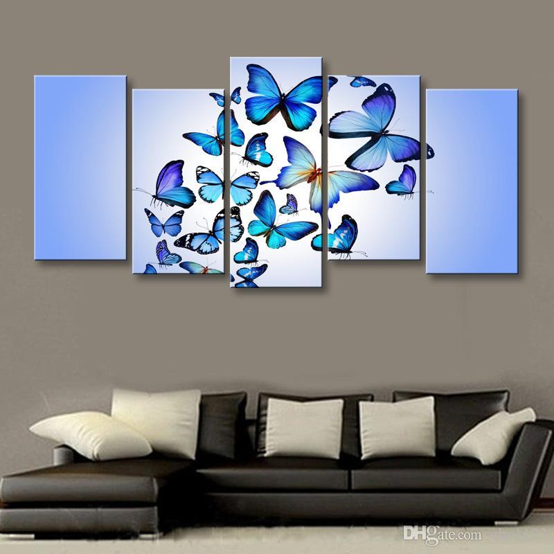 5 Stücke High-Definition-Druck Schmetterling Leinwand Malerei Poster und Wand Kunst Wohnzimmer Bild B-080