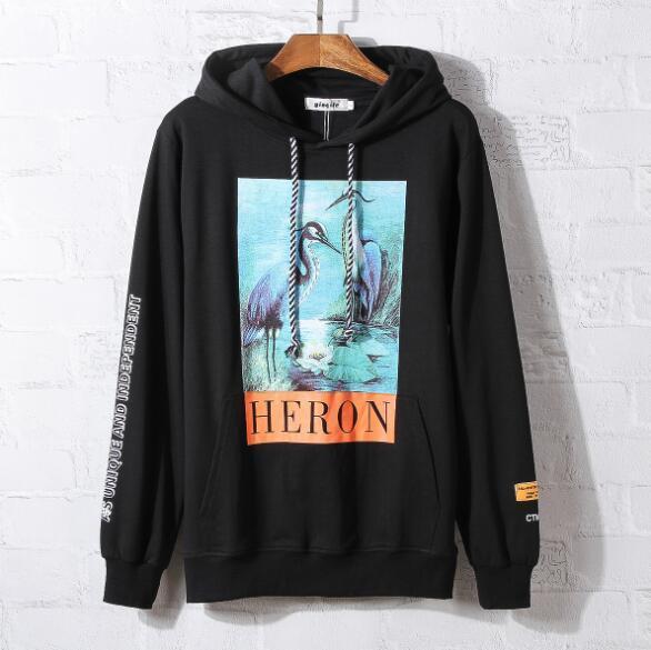 e4a6ec24d34 New Crane Print Sweatshirts Men Women Hip Hop Heron Preston Hoodies  Pullovers Streetwear Black Heron Preston Sweatshirts 2019 Men Women  Sweatshirts Men ...