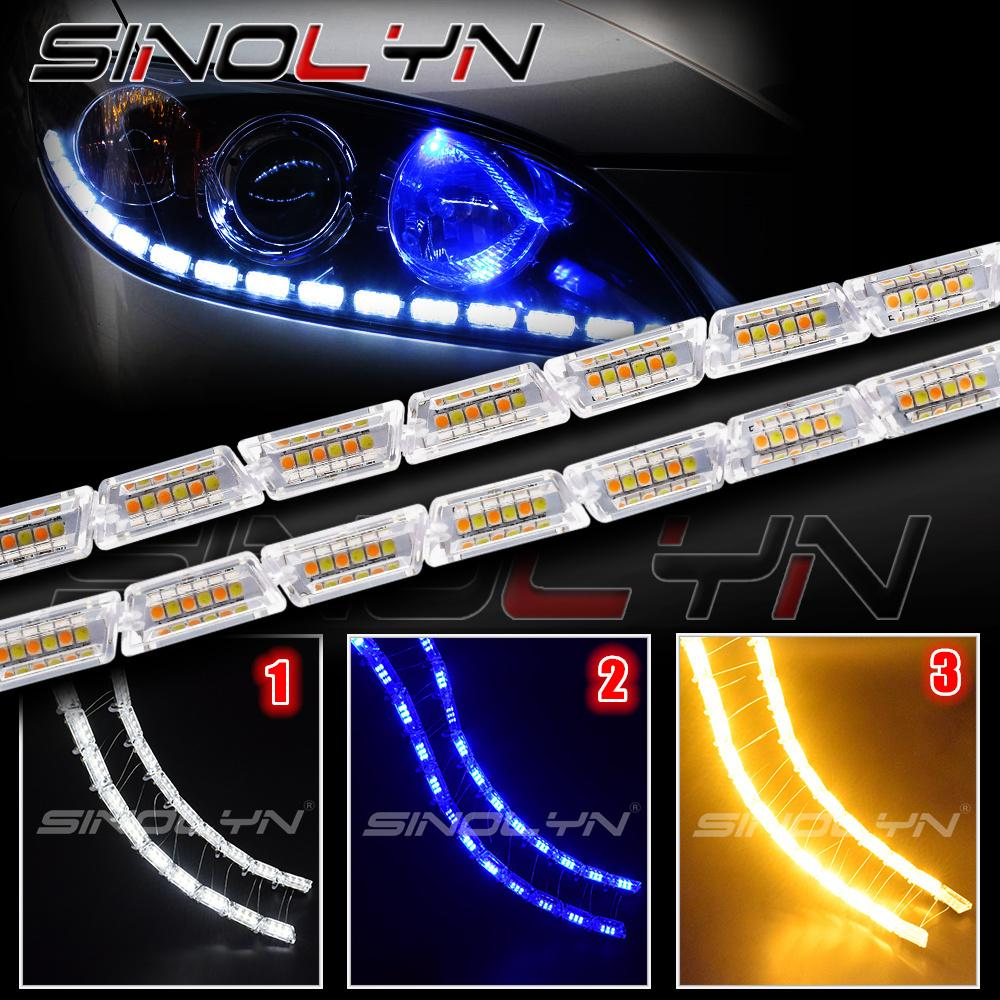 2018 Auto Led Light Running Lights Cars Drl Headlight Liner Strip Sequential Turn Signal Wiring Diagram Switch Back Amber Lamps White Blue Yellow From Ruxian