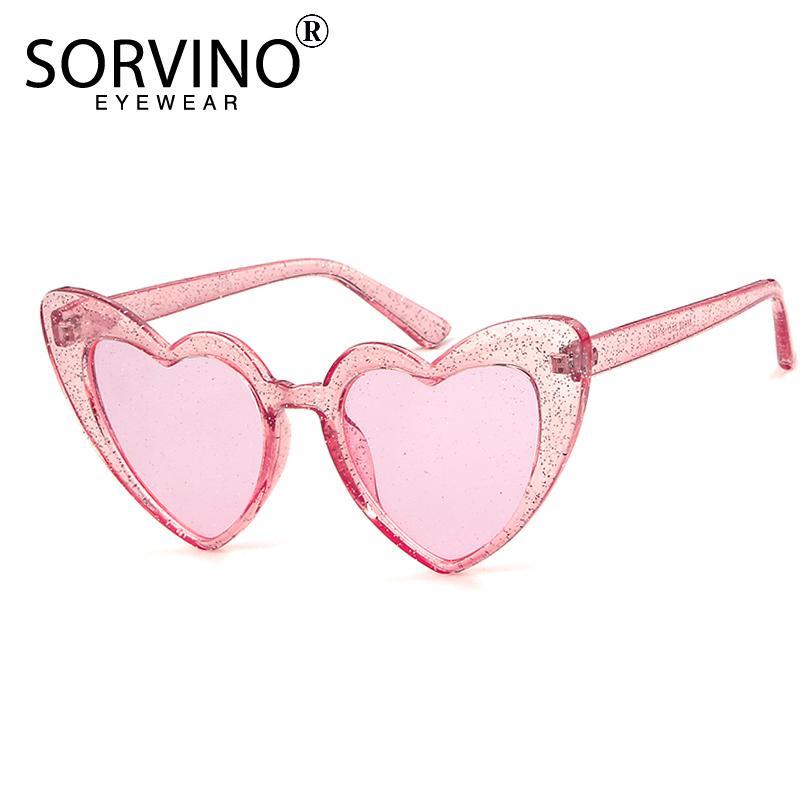 09be09e384 SORVINO GLITTER Heart Shape Cat Eye Sunglasses Women Designer Retro Bling  Lolita Cute Lady Cateye Sun Glasses 2018 Shades SP32 Glasses Online  Polarized ...