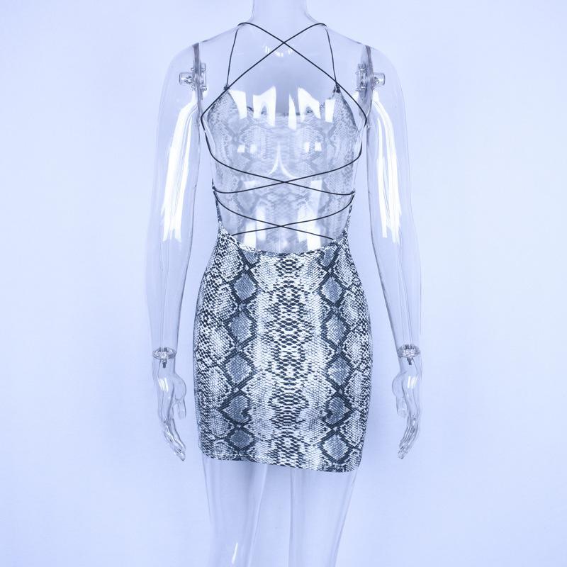 Dulzura snake print backless lace up bodycon mini dress 2018 women sexy snakeskin party dresses One Piece braces skirt Backless