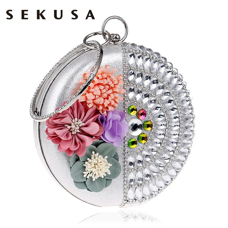 Luggage & Bags Just Sekusa Fashion Women Lace Wedding Handbags Diamonds Day Clutch Evening Bag Chain Shoulder Flower Rose Evening Purse Bag With The Best Service Women's Bags