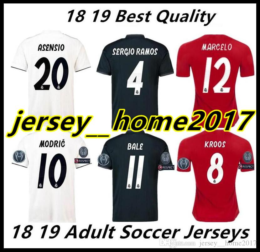 d97b3b14441 2019 2018 2019 Real Madrid Soccer Jersey Football Shirt Modric Kroos Bale  Marcelo 18 19 Champions League Patches Real Madrid Ronaldo Third Shirts  From ...