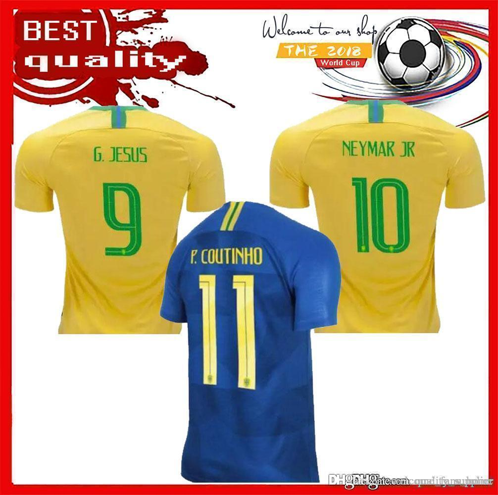 Compre 2018 BRASIL NEYMAR JÚNIOR JESUS COUTINHO BRASIL DANI ALVES WILLIAN  Camisa De Futebol Tailandesa De Qualidade Tailândia Futebol Jerseys  Uniformes De ... c696dbed727c1