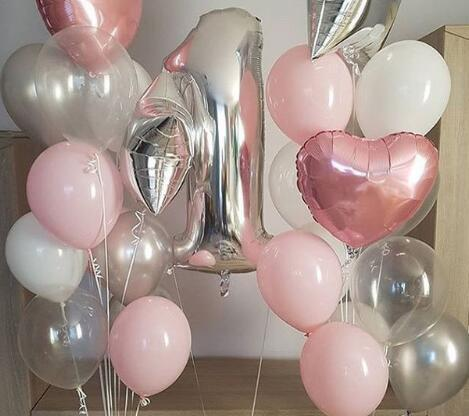40inch Foil Balloon Silver Number 1 18inch Heart Star Latex Balloons Baby Shower Wedding Birthday Party Decor Decorations For
