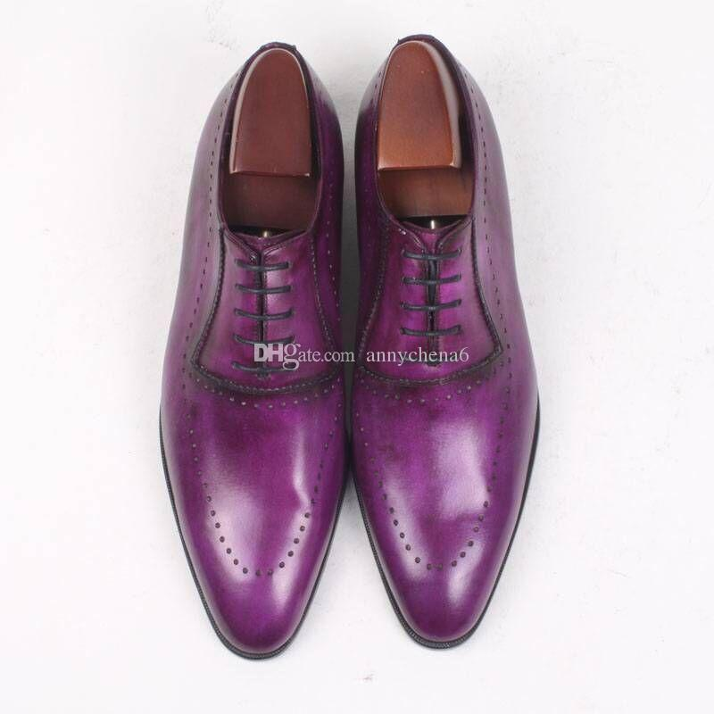7dc5c65c3d5f2b Men Dress Shoe Oxfords Shoe Custom Handmade Color Purple Round Toe Narrow  Shoe Last Genuine Calf Leather OX 014 Hiking Shoes Sperry Shoes From  Annychena6