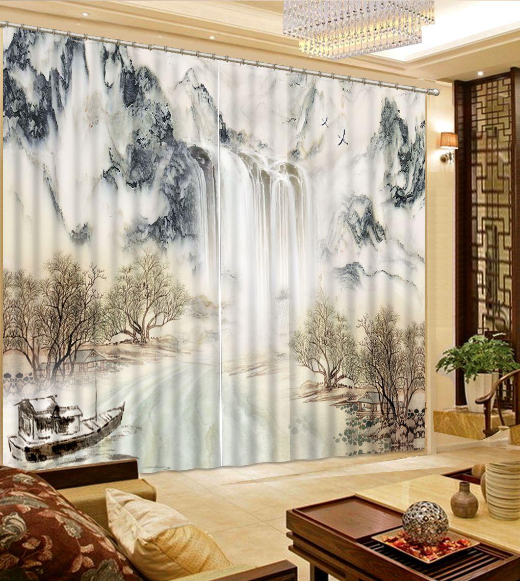 Rideau 3D de peinture d'encre de style chinois pour la décoration moderne de chambre à coucher de fenêtre faite sur commande de salon