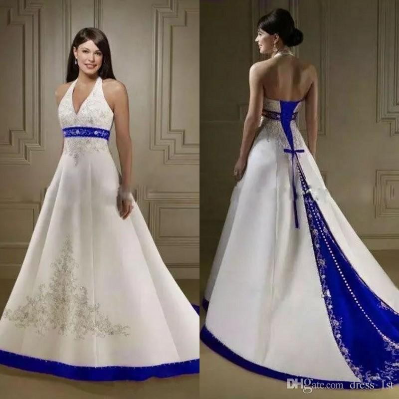 4d0a934c8b44 Discount Vintage White And Royal Blue A Line Wedding Dresses Halter  Neckline Beaded Embroidered Satin Chapel Train Corset Bridal Gowns Robe De  Mariée Slim A ...