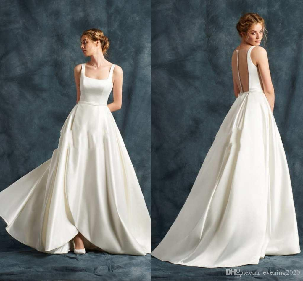 db1a298d62 Discount Elegant White Satin Wedding Dresses Square Neck Sleeveless  Illusion Back With Zipper Bridal Dresses Simple Design Sexy Wedding Gowns A  Line Satin ...