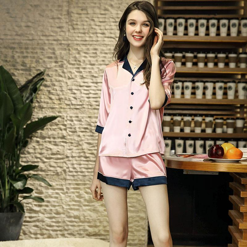 89476a5ebc 2019 Summer Girl Pajama Set Women Sleepwear Silk Pajamas Nightwear Shorts  Pajama Suit Night Suit Silk Lingerie Pink Set Sleep Shorts From  Clothesg202