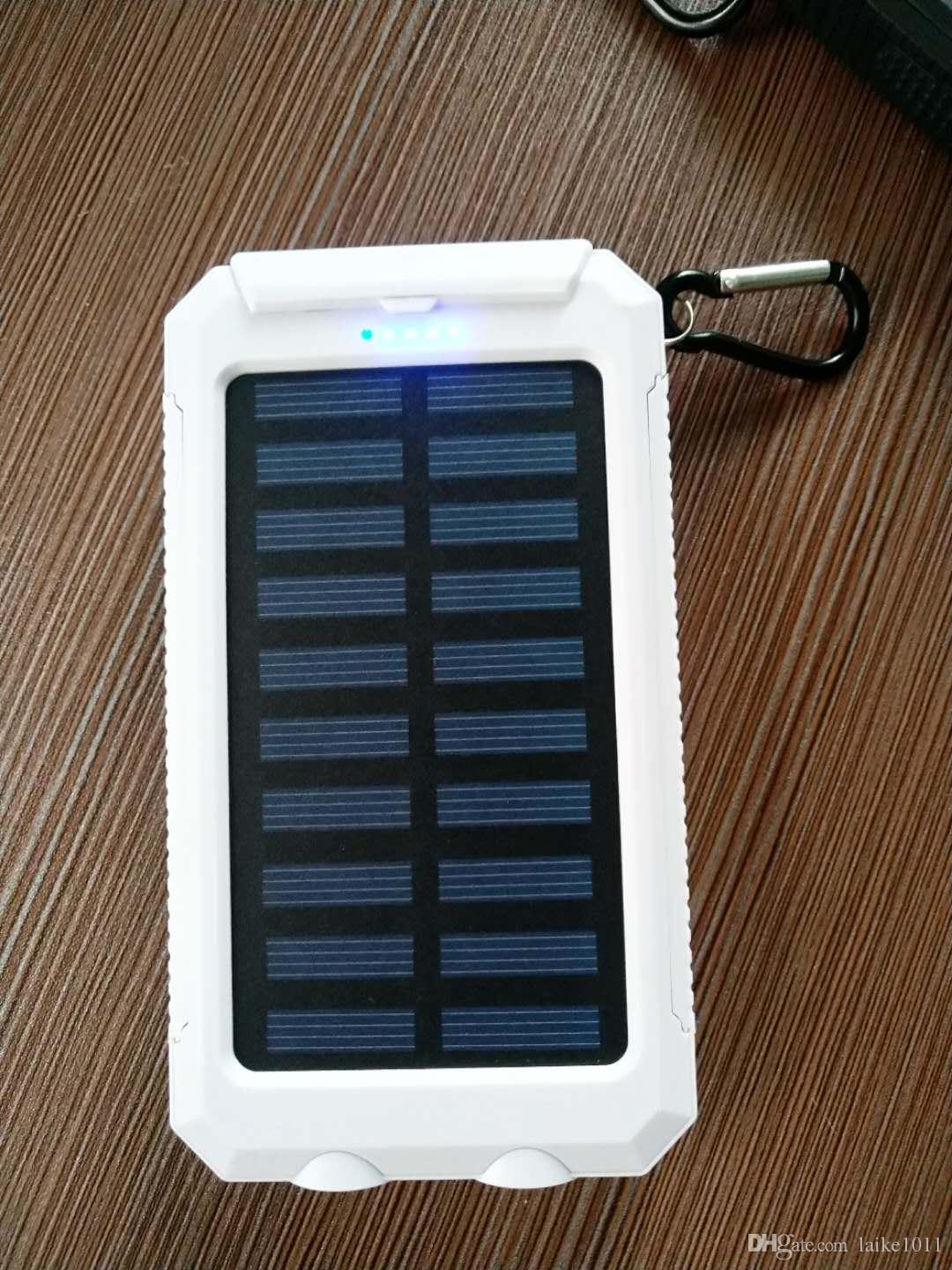 Solar mobile power 2018 solar mobile Power Bank Ultra-thin Highlight Led Banks2a Output Cell Phone Portable Charger Power bank