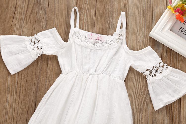 2018 Yaz Prenses Düğün Nedime Çiçek Kız Elbise Çocuk Giyim Çocuk Giysileri için Beyaz Parti Tutu Elbiseler Kız Giysileri için