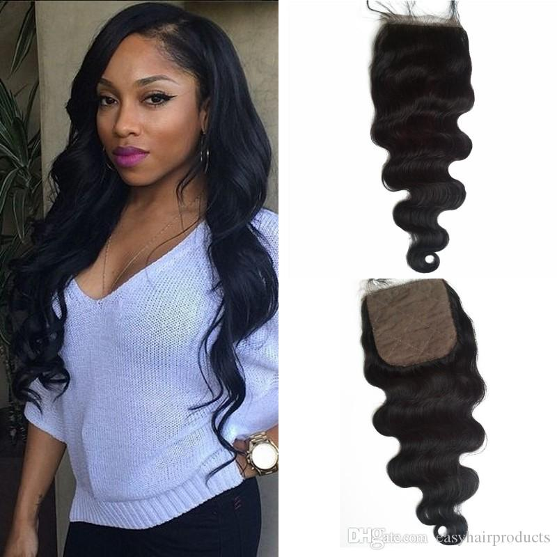 Best Selling Products 4x4 Silk Base Closure Body Wave Virgin Human Hair Extensions 8-24inch In Stock G-EASY