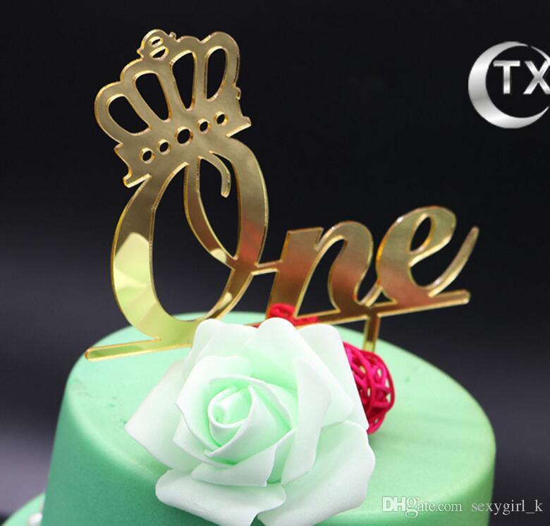 Glossy Children One Year Old Birthday Cake Accessory Acrylic One