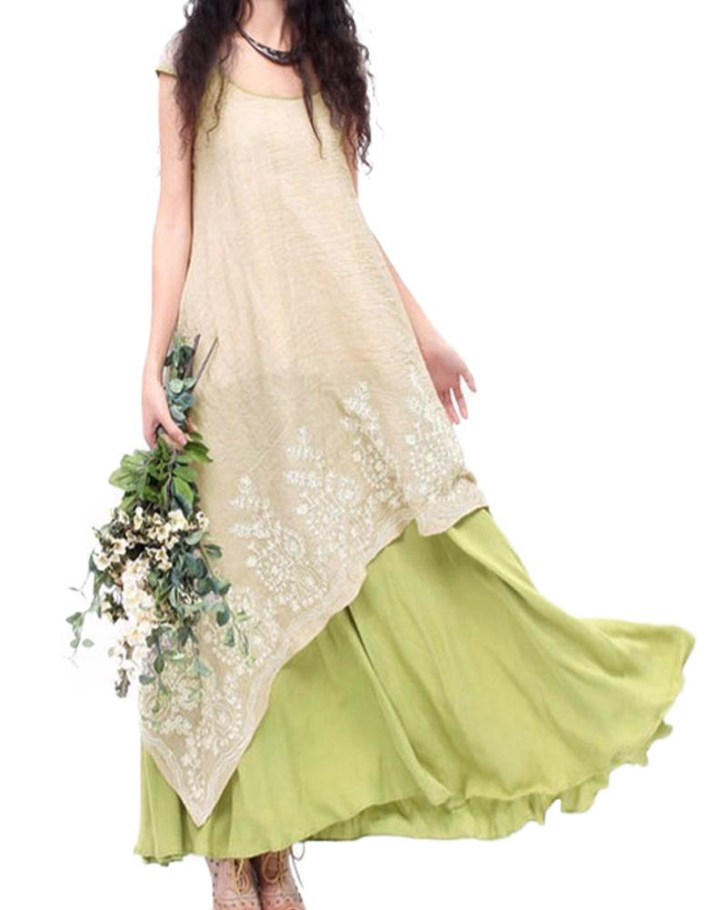 e4d164f779 4XL 5XL Plus Size Dress Women Vintage Casual Loose Maxi Dress Floral  Embroidery O Neck Two Layers Long Dress Green Vestidos 2017 All White Maxi  Dresses Off ...