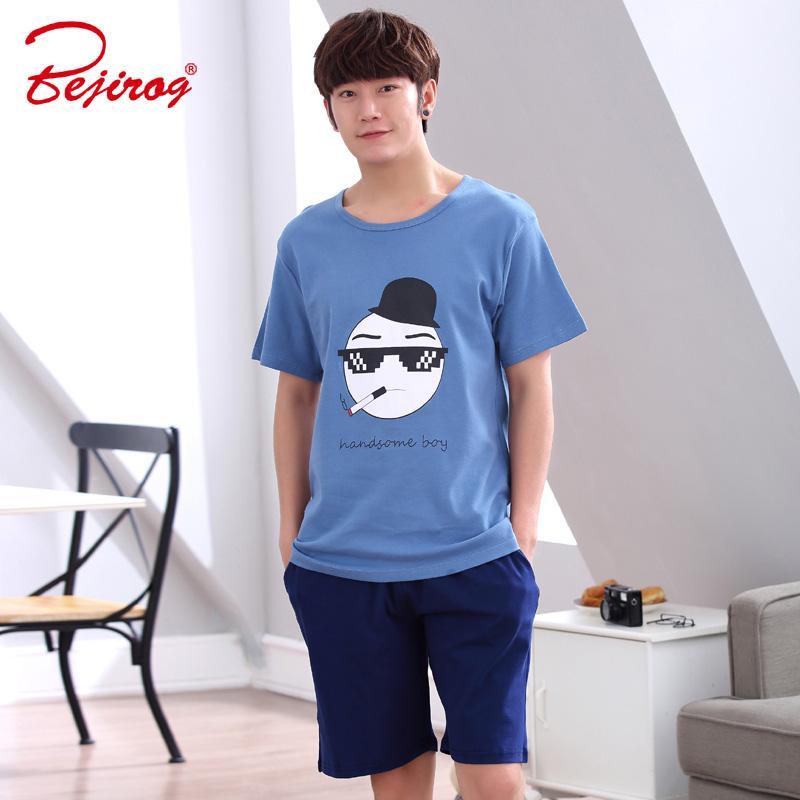 2019 Bejirog Men Pajamas Set Cotton Sleepwear Plus Size Nightwear Short  Sleeved Sleep Clothing Casual Nighties Summer Male Lounge From Roberr b4e30e9a4
