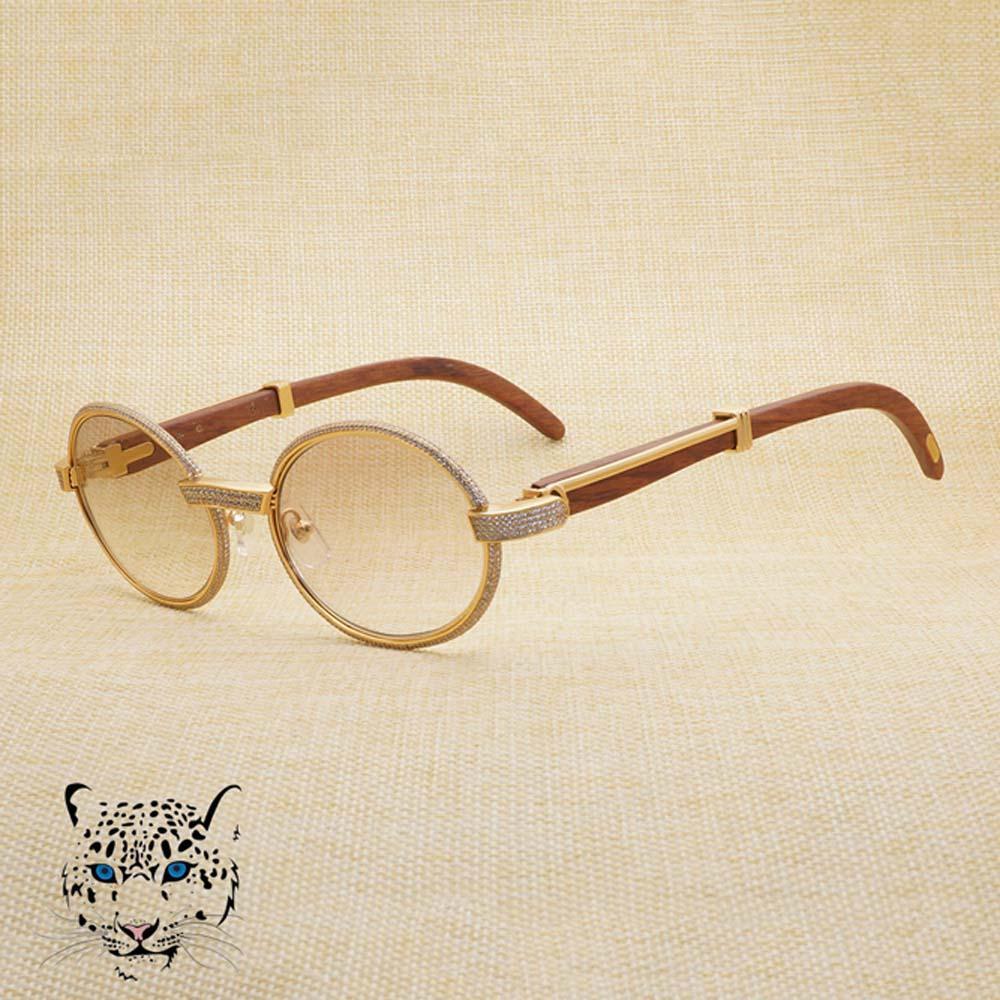 Compre Óculos De Sol De Diamante Do Vintage Rodada Óculos De Sol Para Show Óculos  De Luxo Em Concerto Discurso Negócios Óculos De Sol De Madeira De Madeira  ... 87d9ca7543