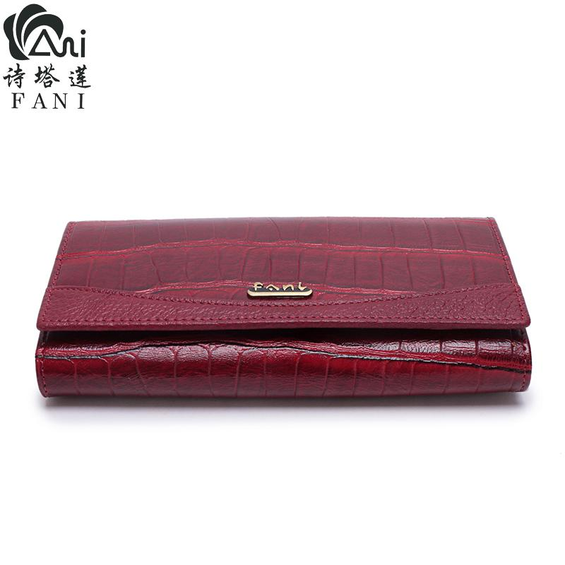 FANI Women Wallet Genuine Leather Female Purse Long New Fashion Womens Wallets And Purses Retro Leather Wallet Clutch Party Bag