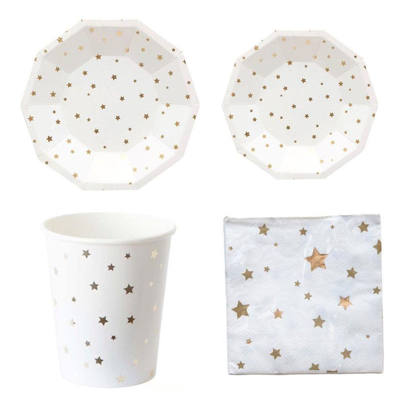 2018 metallic star moon disposable tableware set paper plates cups napkins for birthday bridal shower children party decoration xmas from mudanflower