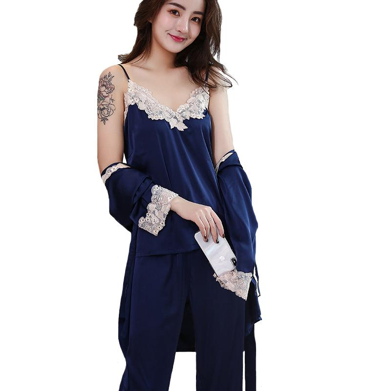 Lady Intimate Lingerie 2018 Sexy Strap Top+Pants+Robe Sleep Set ... 5c7fa60285e