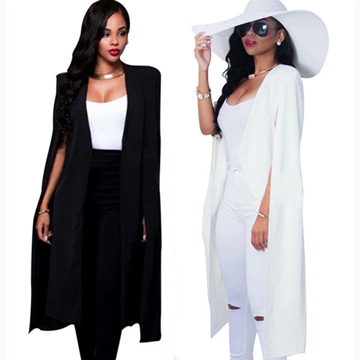 e0b1a0ae7979 Acheter Automne Femmes Longue Cape Manteau Blazer Manteau Cap Cardigan Veste  Mince Bureau Simple Blazers Manteau Blanc OL Costume Veste Noire Outwear ...