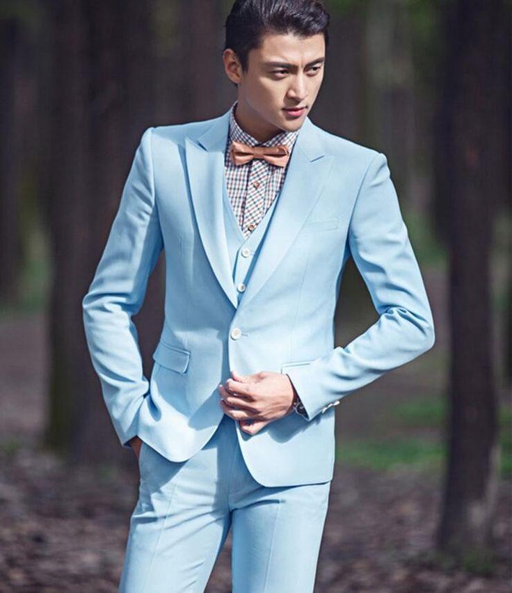Tailor Made Light Blue Wedding Suits For Tuxedo Groom Prom Blazer ...