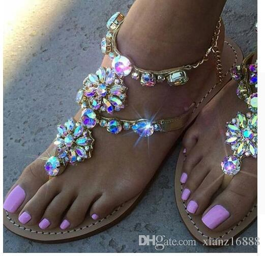 58264f51d70689 Rumbidzo 2018 New Bohemian Women Sandals Crystal Flat Heel Sandalias  Rhinestone Chain Women Shoes Thong Flip Flops Zapatos Mujer Red Shoes Wedge  Sandals ...