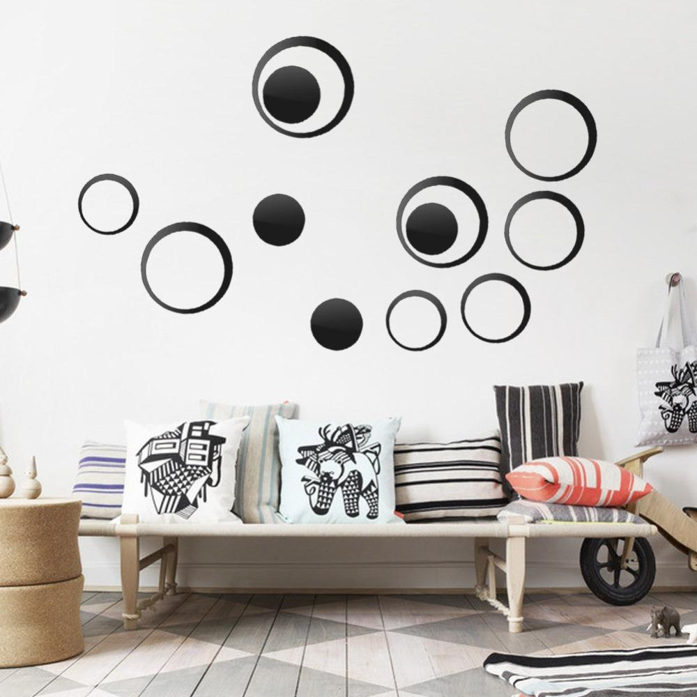 Acrylic Circle Mirror Wall Stickers Removable DIY Wall Decoration ...