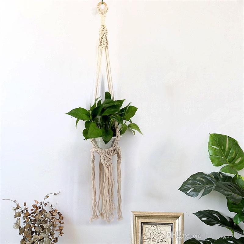 Simple Flower Pots Net Wall Decoration Pendant Planters Bohemia White Tapestry Hanging Basket Handmade Weave Tassels 16 5jj V