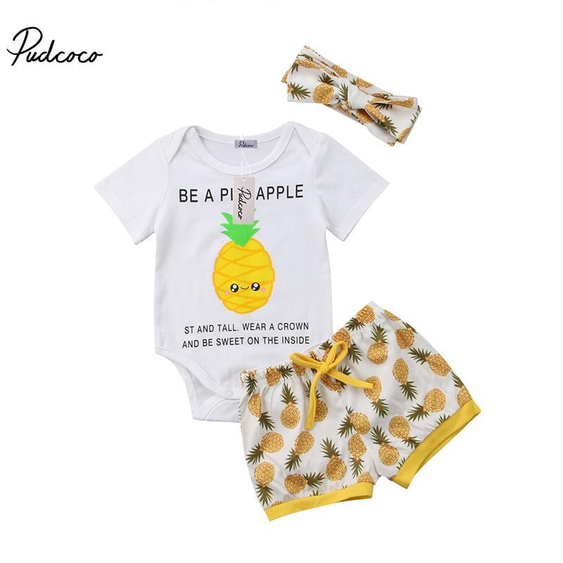 74670c857e0a 2019 Pudcoco Newborn Baby Boy Girl Pineapple Print Bodysuit +Shorts ...