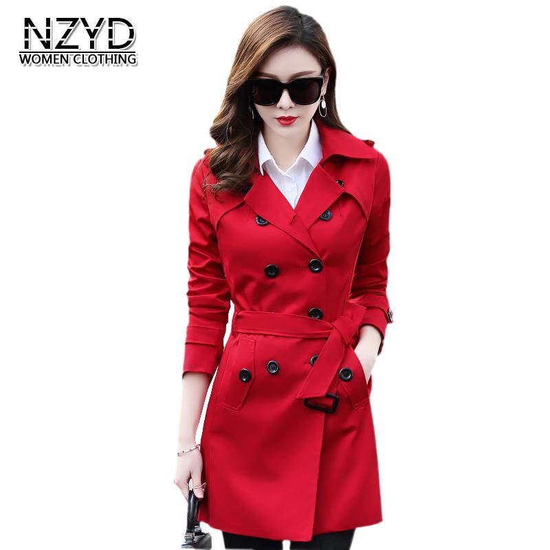 f1d107ae229 2018 Spring Autumn Women Trench Coat Lapel Collar Mid Long Slim Female Coat  New Style Fashion Plus Size LADIES513 UK 2019 From Yesterlike