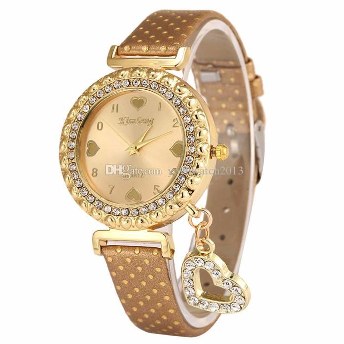 2018 Valentine's Day gift Fashion Women Watch Crystal Love Heart Faux Leather Analog Quartz Watch Casual Ladies Bracelet Dress Watches