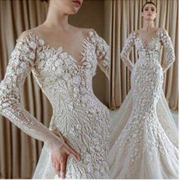 Wedding dress Yousef aljasmi Long Dress Long Sleeve Applique Tulle Jewel With Trail Mermaid Juhair Murad Muslism kardashian Myriam Fares