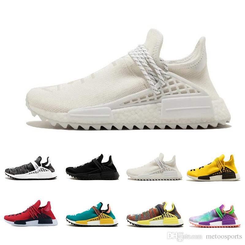 2edf16561 2018 Human Race Pharrell Williams Hu Trail Cream Core Black Nerd Equality  Holi Nobel Ink Trainers Mens Women Sports Sneakers Running Shoes Sports  Shoes ...