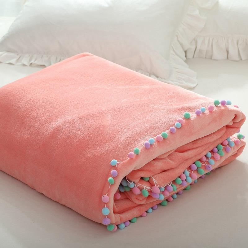 Pompom Fleece Blanket On The BedMulti Size Solid Color Bedding Sofa Cool Pale Pink Throw Blanket
