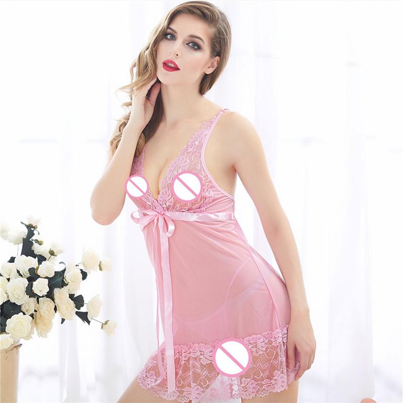 Erotic Costumes Underwear Women Sexy Lingerie Hot Lace Transparent Lingerie  For Sex V Neck Perspective Babydoll Silk Pajamas UK 2019 From Erotogenic01 da03643d5