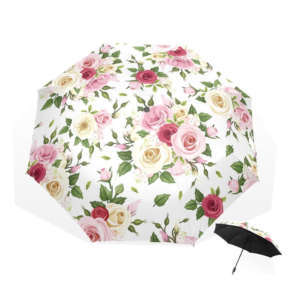 97f60025ae53 8 Rib Non-automatic Umbrella Women Windproof 3 Folding Sunny and Rain  Flower Rose Umbrellas UV Protection Rain Gear