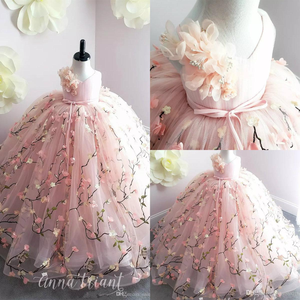 785aa5aab Princess Pink Flower Girl Dresses 2019 Lace 3D Floral Appliques Ball Gown  Little Girl Birthday Party Gowns Sweep Train Kids Formal Wear Lemon Flower  Girl ...