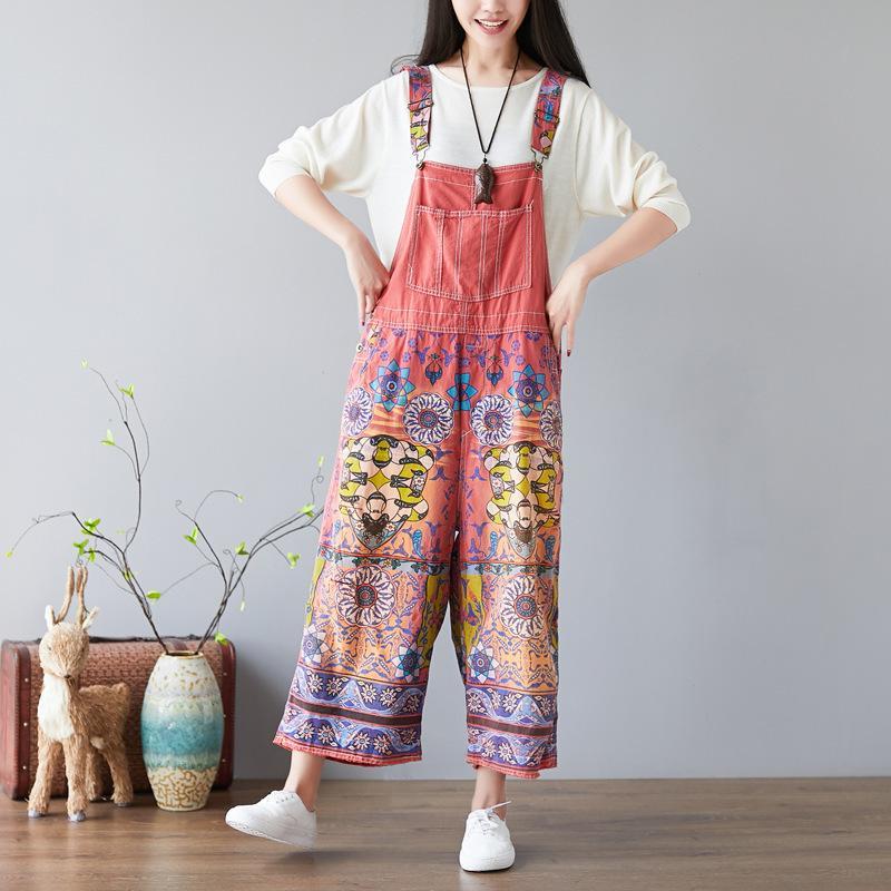 2ca3a2297f7 2019 Baggy Denim Jumpsuits Female Plus Size Vintage Print Bib Cowboy Pants  Suspenders Harem Rompers Harajuku Drop Crotch Jeans YT093 From Trousseau