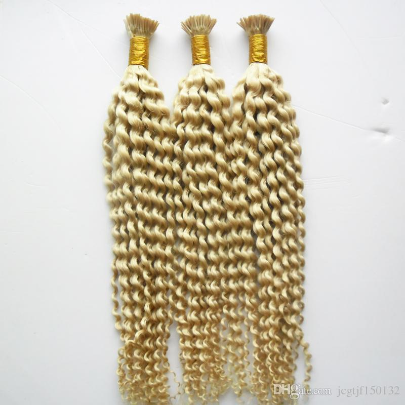 300g #613 Bleach blonde Remy Pre Bonded Human Hair Extension kinky curly Fusion Hair Keratin Capsules I Tip Colorful Hair