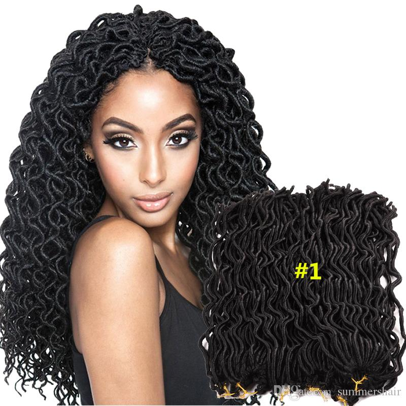Hot Sale 24 Strandspcs Faux Locs Curly Crochet Braids Soft Locks