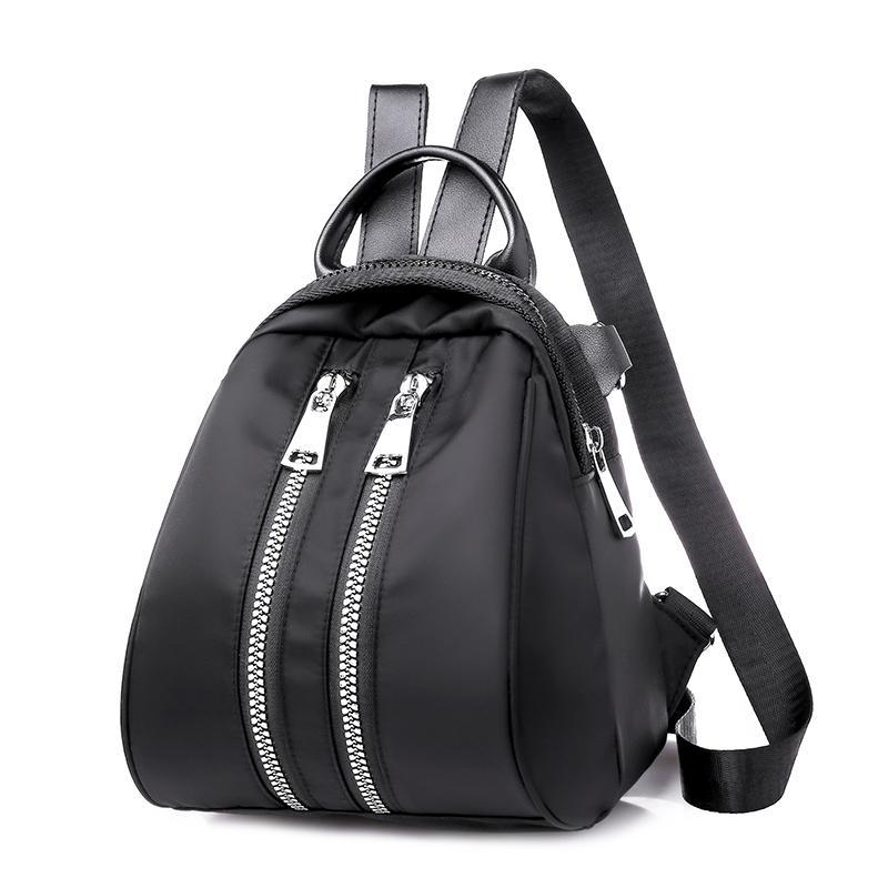 168b882211 New Women Small Day Bag Fashion Waterproof Nylon Backpack Back Mini Backpack  For Teenager Double Zipper Shoulder Bag Daypacks Wheeled Backpacks Leather  ...