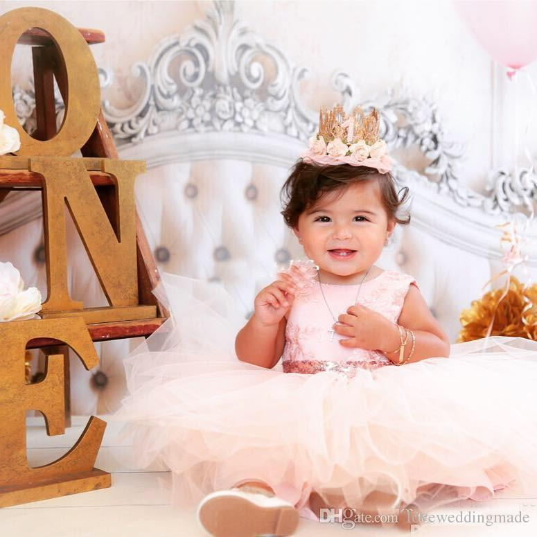 Cute Baby Infant Toddler Formal Party Dresses Blush Pink Rose Gold Sequins Bow Sash Short Tutu Girls Pageant Gowns Cheap 2018