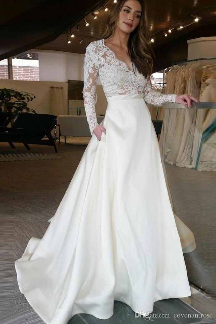 Cheap A Line Wedding Dresses Long Sleeves Lace See Through Top Skirt With Pockets Designer Bridal Gowns Custom Made Wedding Dress Bridal Couture Casual Wedding Dress From Covenantrose 113 07 Dhgate Com